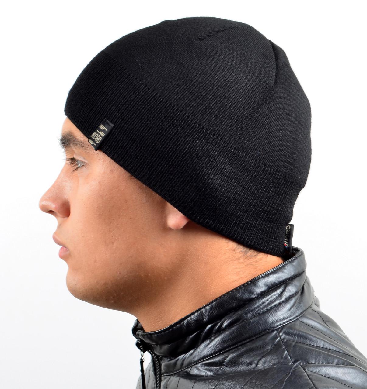 Мужская вязаная шапка на флисе