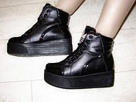 С311 - Ботинки слипоны женские зимние черные