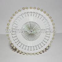 Булавки с белым шариком (жемчужинка), на диске, 40шт