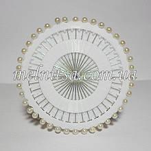 Шпильки з білим кулькою , на диску, 40шт