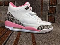 Подростковые и женские повседневные кроссовки Nike Air Jordan (Найк Аир Джордан) кожа белые с розовым
