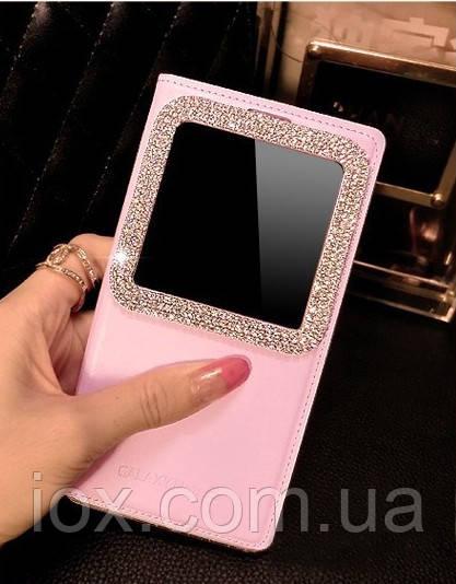 Розовый чехол-книжка со смотровым окошком украшенным камнями Сваровски для Samsung Galaxy A7