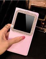 Розовый чехол-книжка со смотровым окошком украшенным камнями Сваровски для Samsung Galaxy A7, фото 1