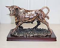 Статуэтка Бык с медным покрытием на подставке