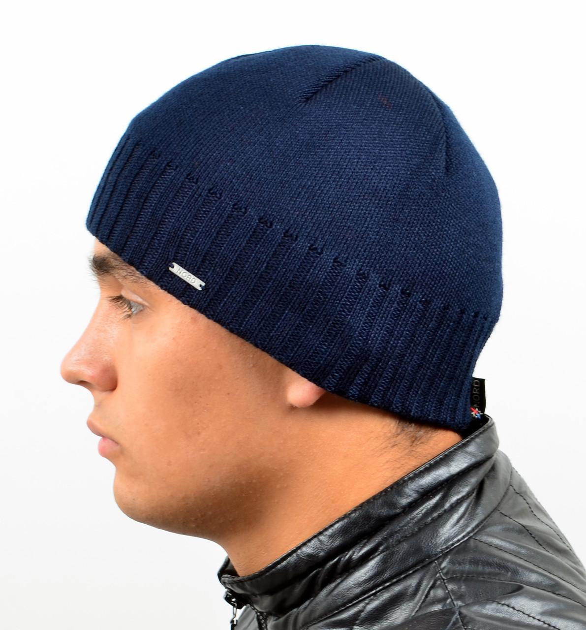 !Мужская вязаная шапка Nord на флисе