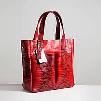 Кожаная сумка модель 2 кайман красный_склад