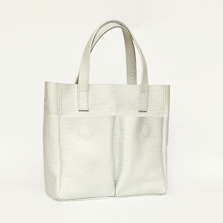 Кожаная сумка модель 2 белый кайман, фото 1