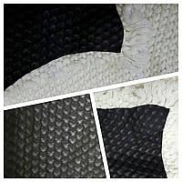 Обрезь кожи одежной черный + белый трикотаж Италия