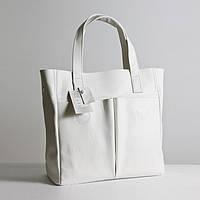 Кожаная сумка модель 2 белый флотар, фото 1