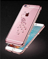 Золотой силиконовый чехол Павлин с камнями Сваровски для Iphone 6