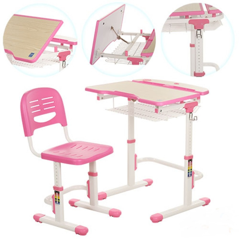 Парта со стульчиком металлическая Bambi C-302 для школьников регулируемая Бамби - фото 1