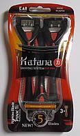 Набор одноразовых бритвенных станков Katana 5, в упаковке 3 шт Оригинал Япония