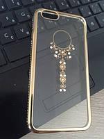 Золотой силиконовый чехол Ожерелье с камнями Сваровски для Iphone 6, фото 1