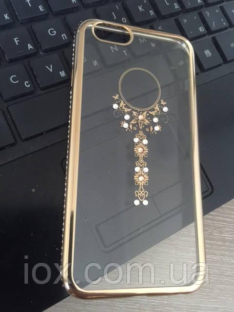 Золотой силиконовый чехол Ожерелье с камнями Сваровски для Iphone 6