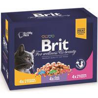 Влажный корм Brit Premium Cat pouch ассорти 3 вкуса для котов и кошек 100 гр.*12шт