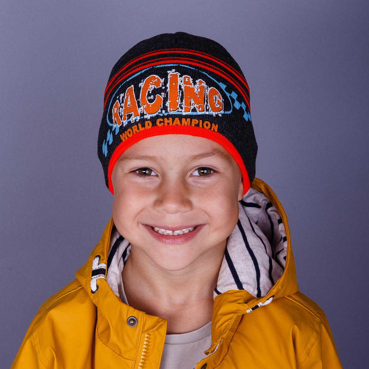 Вязаная шапка на мальчика оптом весна-осень 2018 - Racing - Артикул 1504