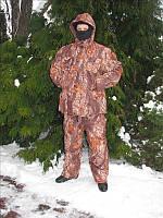 Зимний утепленный камуфляжный костюм для рыбалки, расцветка Лес, на синтепоне, из мембранной ткани