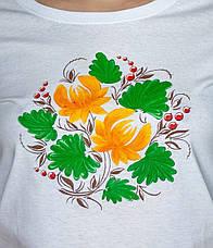 Стильная белая футболка с цветочным принтом Drozd. Ручная роспись!, фото 2