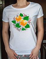 Стильная белая футболка с цветочным принтом Drozd. Ручная роспись!