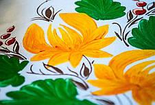 Стильная белая футболка с цветочным принтом Drozd. Ручная роспись!, фото 3
