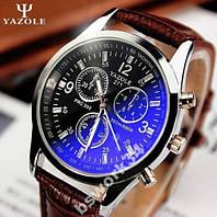 Мужские наручные часы Yazole blue ray коричневые (кварцевые) с стеклом голубой луч