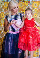 Детское красное нарядное платье.