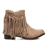 Женские ковбойские ботинки бежевые из замши с бахромой