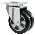 Колеса из суперэласт.черной резины Twin Medium поворотн усилен сдвоен. с крепеж. панелью шарик.подшØ160,200мм
