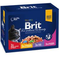 Влажный корм Brit Premium Cat pouch ассорти 4 вкуса для котов и кошек 100 гр.*12шт