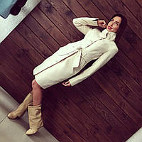 Стильное кашемировое пальто на пуговицах с элегантным поясом, белое