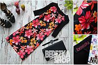 """Женское нарядное черное платье """"Цветы"""""""