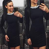 Красивое платье с итальянской фурнитурой черное, фото 1