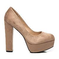 Женские туфли бежевые замшевые на толстом каблуке
