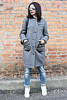 Женское демисезонное пальто Нашивка кожа елочка, женское пальто демисезонное,  дропшиппинг украина