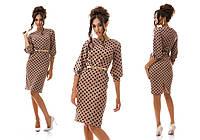 Женское стильное деловое платье-футляр в горошек (5 цветов)