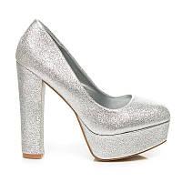 Женские туфли блестящие белые на толстом каблуке