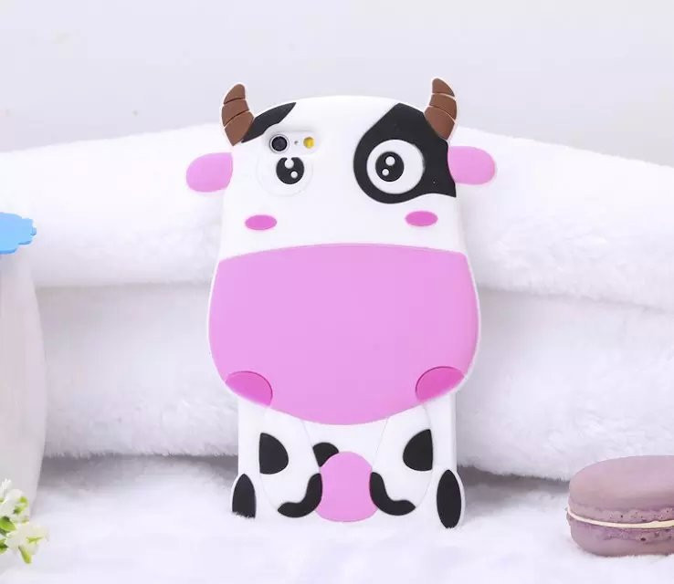 Чехол силиконовый 3D Cartoon Cute White Cow Soft Silicon Case для iPhone 6/6S Plus