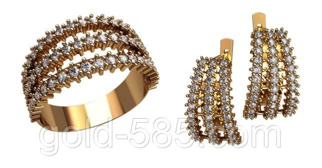 Стильный золотой ювелирный набор 585  пробы с кубиками циркония - Мастерская  ювелирных украшений «GOLD bacfaff94d4