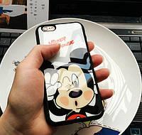 Чехол силиконовый 3D Mickey Mouse Kiss Glass Silicone Mirror Case для iPhone 6/6S Plus