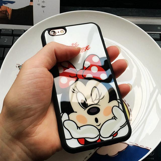 Чехол силиконовый 3D Minnie Mouse Kiss Glass Silicone Mirror Case для iPhone 6/6S Plus