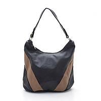 Удобная черная с коричневыми вставками женская сумка на плече. Сумка для работы. Класическая сумка. Код: КБН37