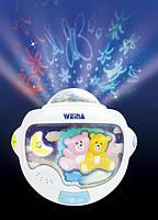 Детский светильник с проектором Weina «Двойняшки Тедди», ночной светильник Weina