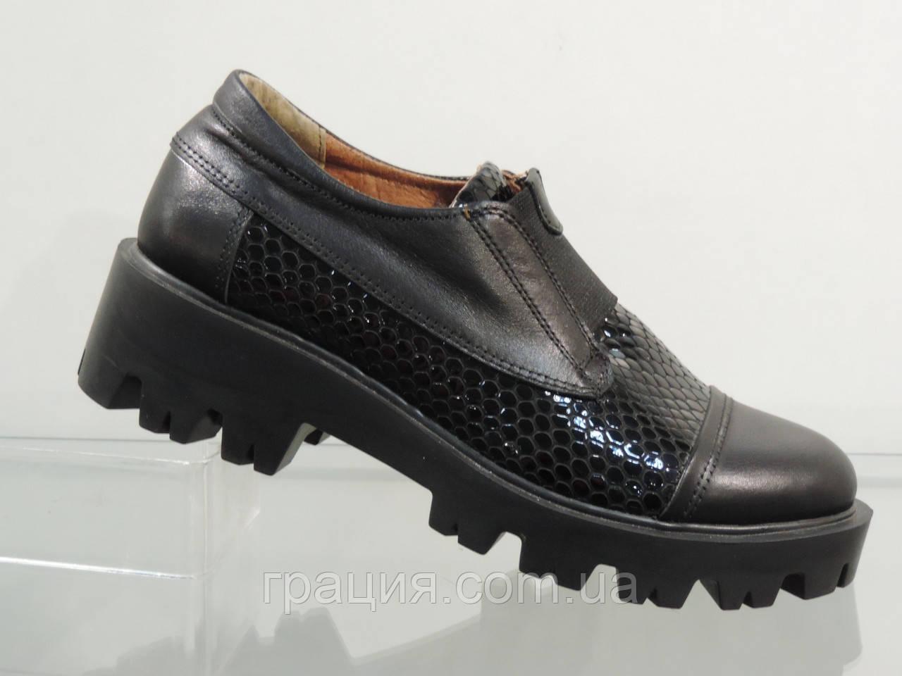 Жіночі модні туфлі на тракторній підошві
