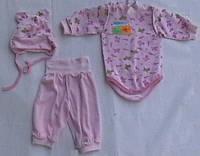 Комплект велюровый для девочки (боди, штанишки, шапочка), рост 56-62см