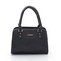 Классическая черная сумочка на каждый день. Сумка с ручками. Кожаная сумка с золотой фурнитурой. Код: КБН39