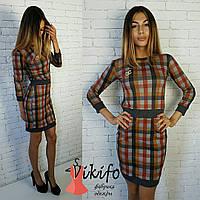 Платье короткое в клетку с манжетами 3 расцветки SMf655