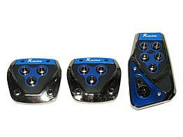 Тюнинг накладки на педали авто автомобиля универсальные XB-375 Blue/chrome
