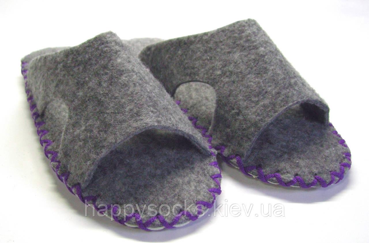 Тапочки-шлёпанцы мужские из войлока для дома фиолетовый шнурок