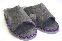 Тапочки-шлёпанцы мужские из войлока для дома фиолетовый шнурок, фото 1