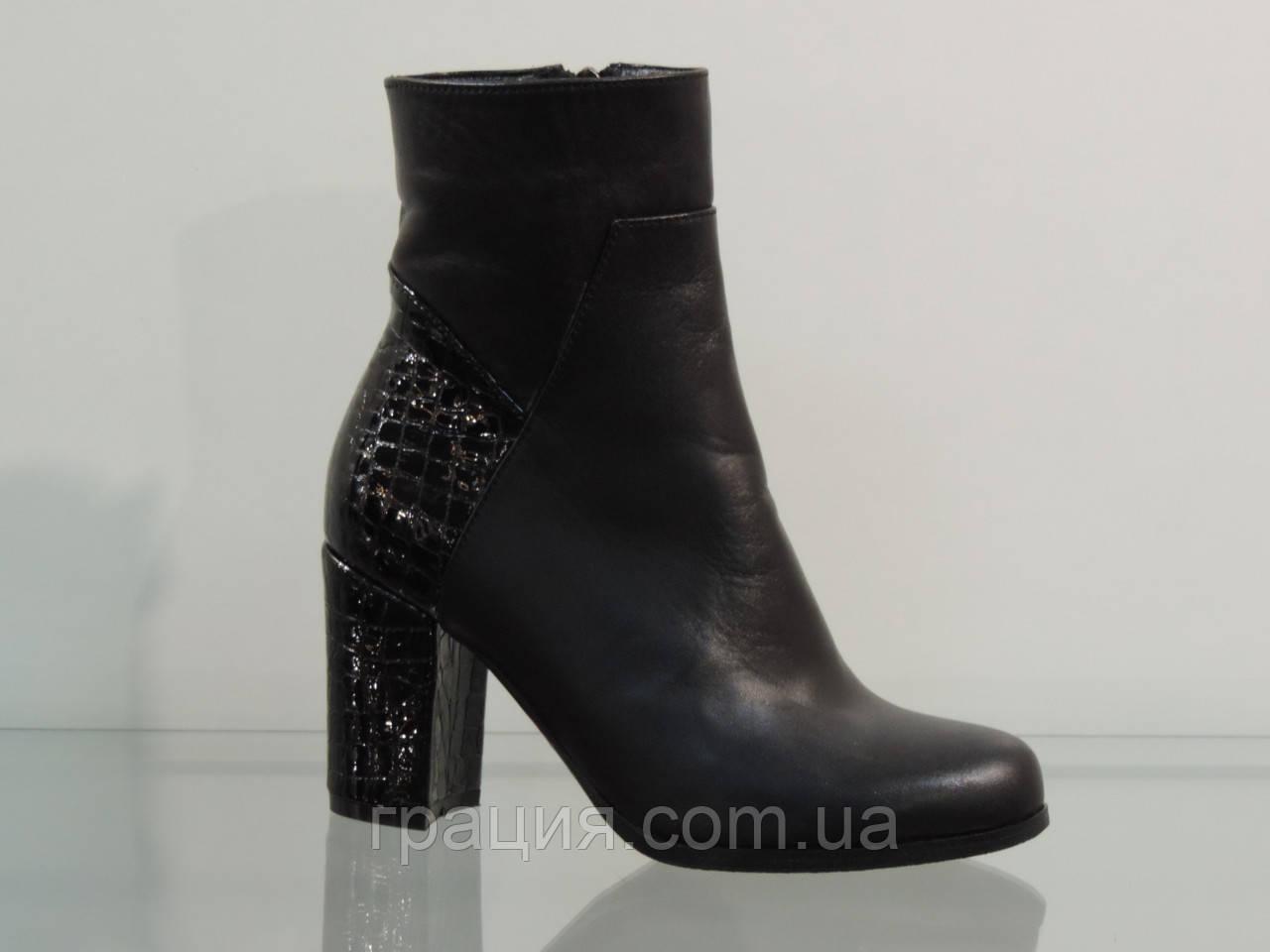 Модні черевички на більшому підборах шкіряні